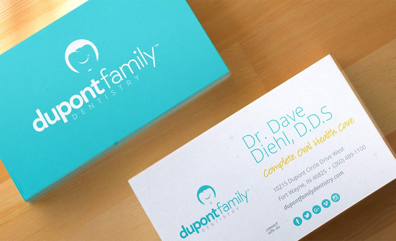 Dupont-Family-Dentistry_Logo_Cosmetic-General_Dentist_Fort-Wayne-Indiana_Dr-Diehl_Brand-Identity-Design_Branding_Promotional-Material_Business-Cards_Design_Mockups